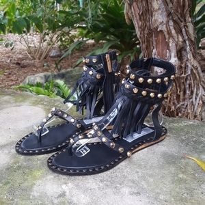 Ivy Kirzhner gold studded gladiator sandals